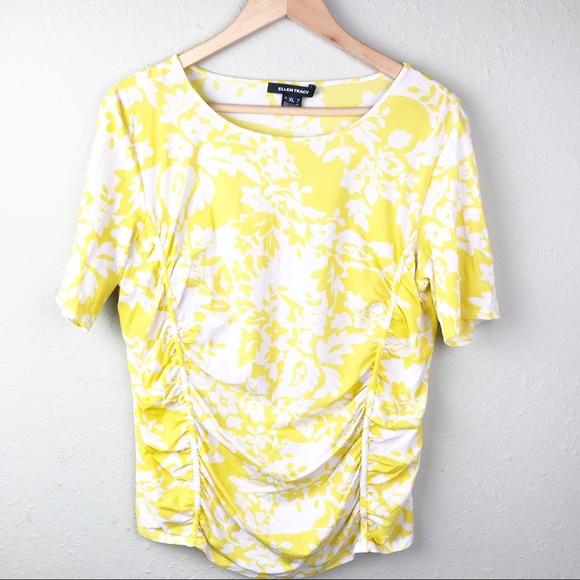 d0e69ff3d291d4 Ellen Tracy Tops - Ellen Tracy Floral Yellow and White Blouse Size XL